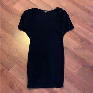 Lovely girl black dress with zipper detail